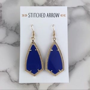Jewelry - 2 for $16 -Gold Royal Blue Kite Metal Drop Earring